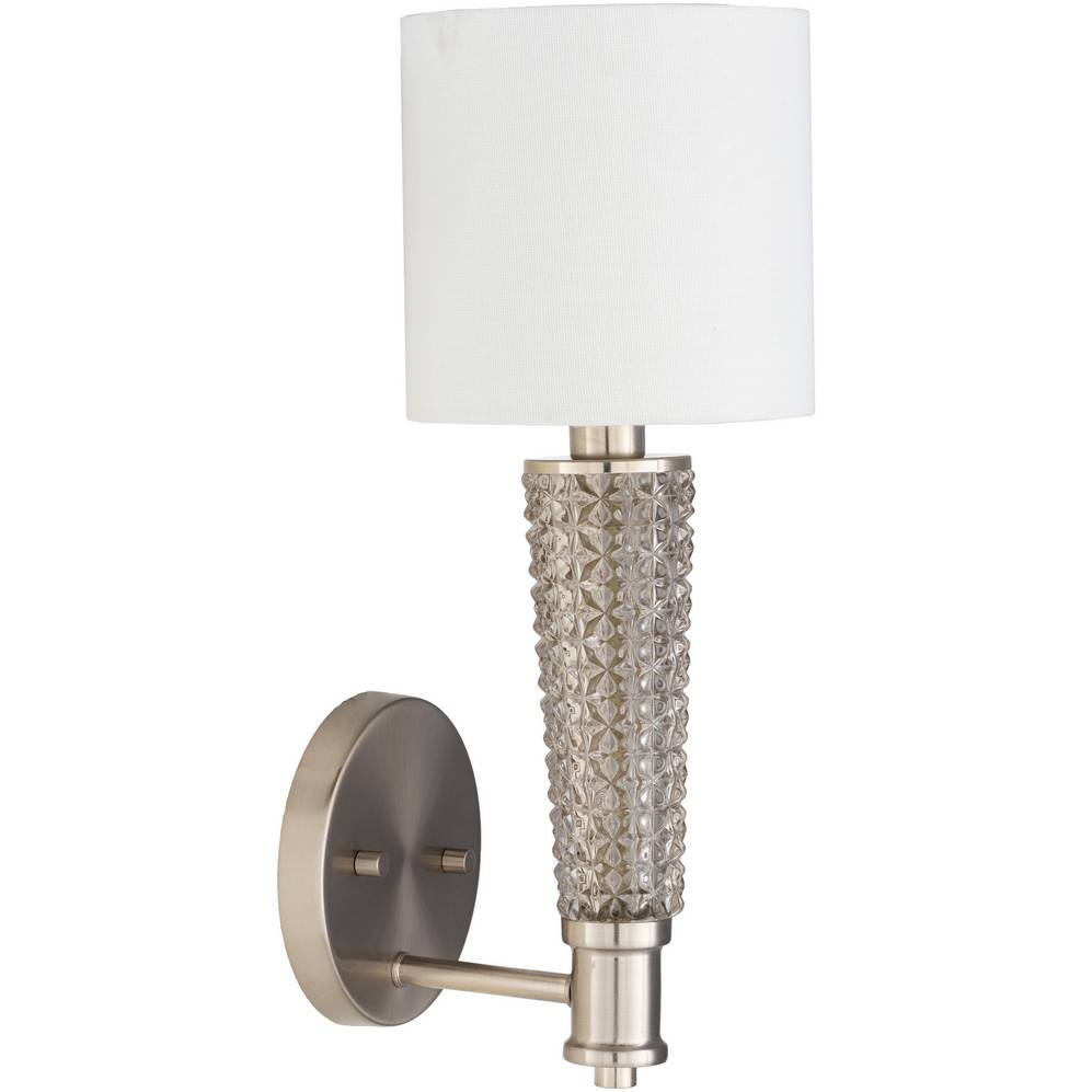 Vintage Brushed Nickel & Textured Glass Wall Sconce with White Linen Drum Shade