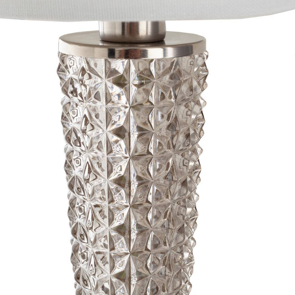 Antique Brushed Nickel & Textured Glass Wall Sconce with White Linen Shade