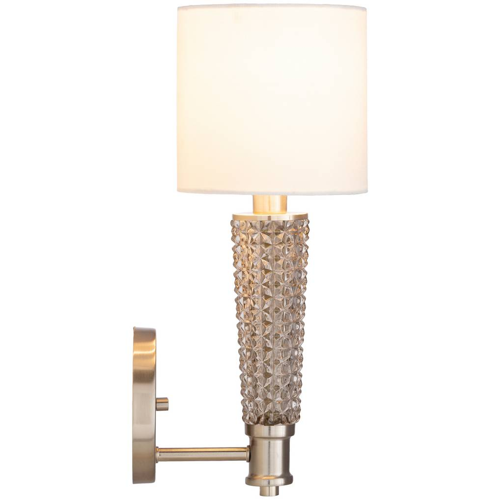 antique textured glass wall sconce with drum shade white linen