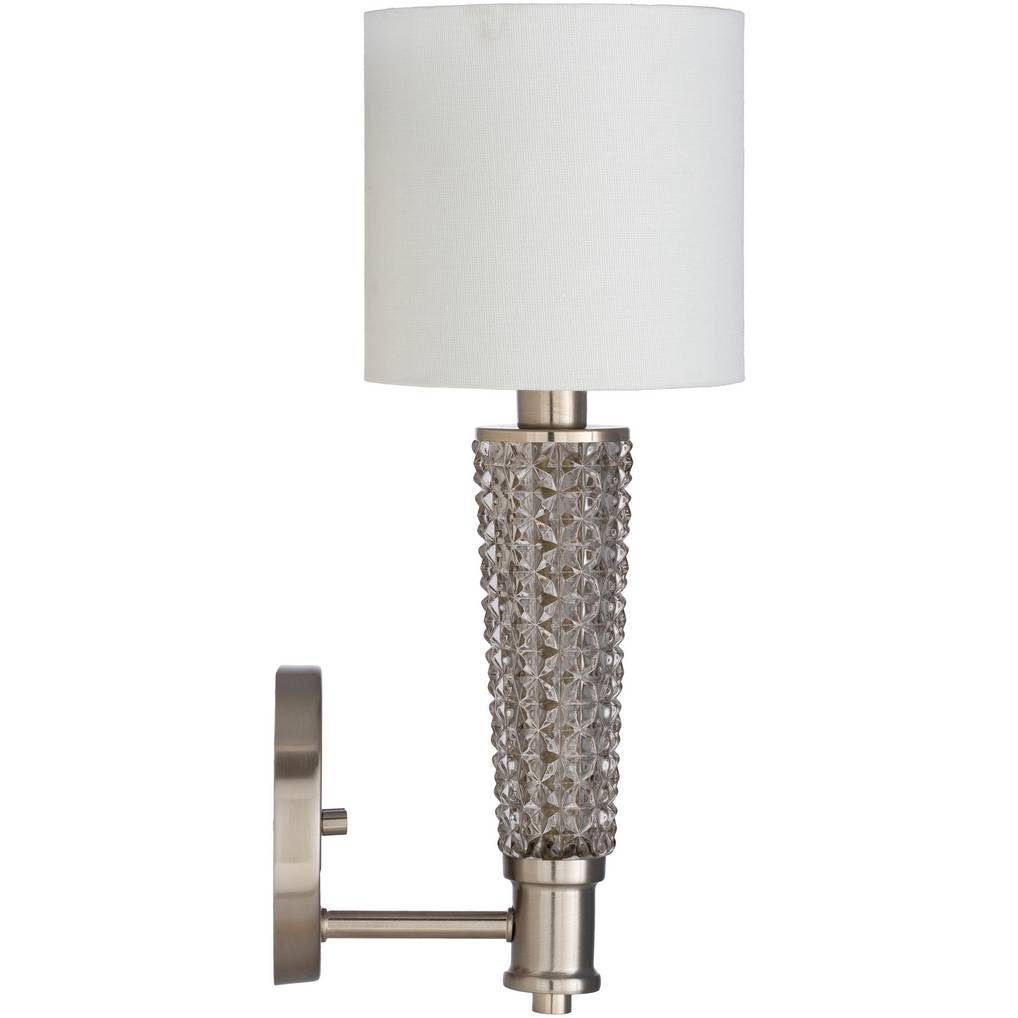 vintage textured glass wall light with white drum shade
