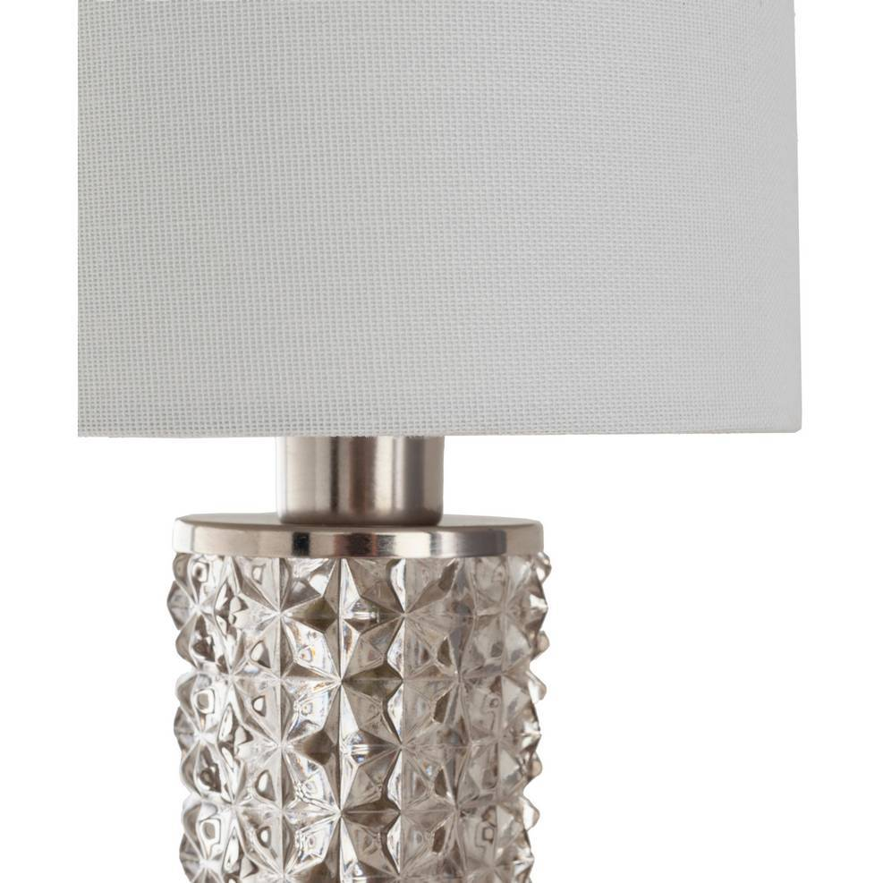 Antique Brushed Nickel and Textured Glass Wall Sconce with White Linen Shade