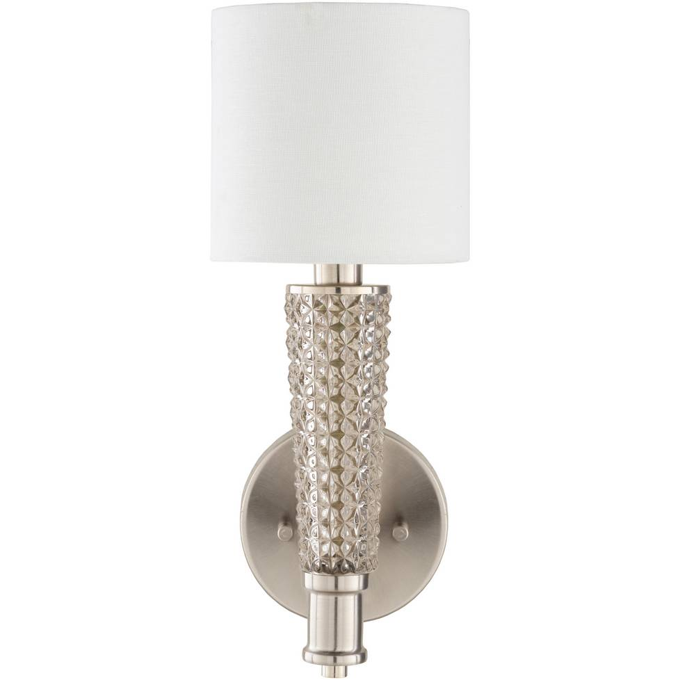 Vintage Brushed Nickel & Textured Glass Sconce with White Linen Shade