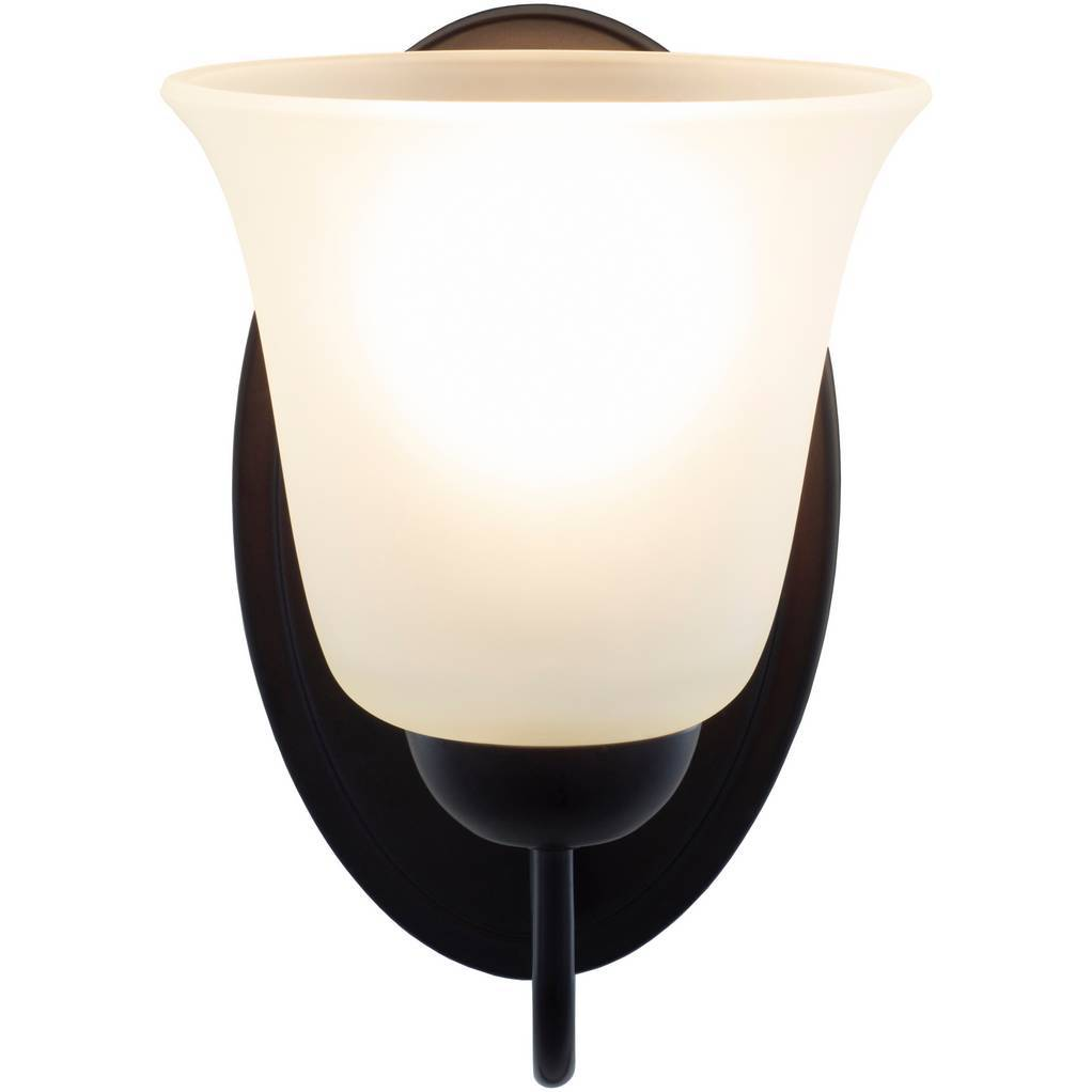 Antique Dark Brown Metal White Frosted Glass Sconce