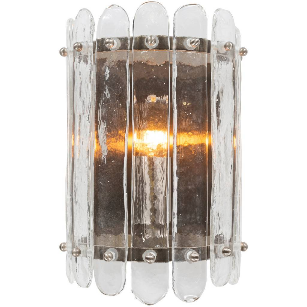 Vintage Nickel & Clear Brushed Glass Metal Wall Sconce