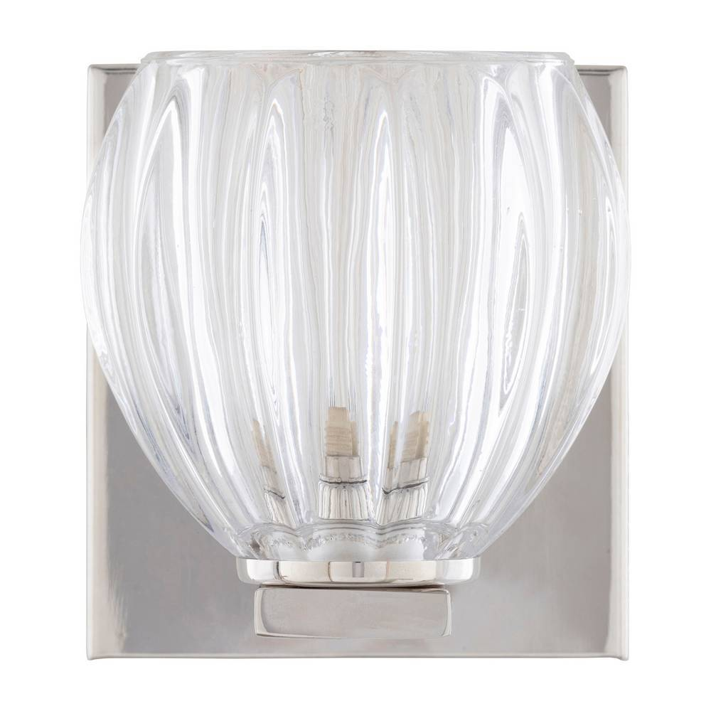 Vintage Nickel & Polished Textured Glass Bowl Sconce