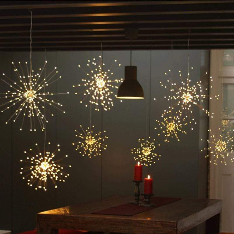 Warm White / 100: 2 LEDs Per String (50) Hanging LED Starburst Lights with Remote Control
