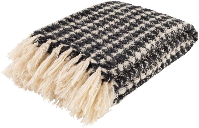dark gray and white cream hand woven throw blanket with fringe