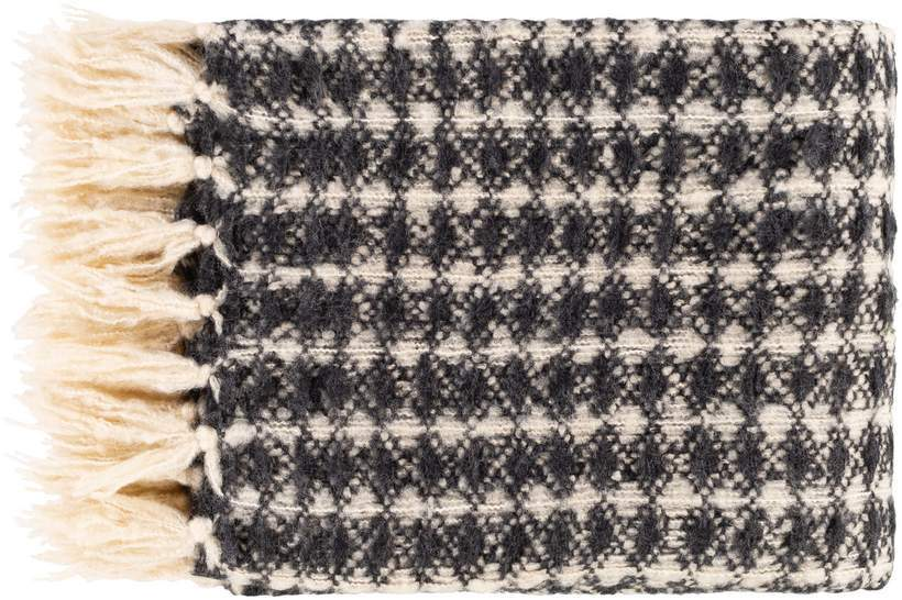 White and Dark Gray Hand Woven Throw Blanket with Fringe
