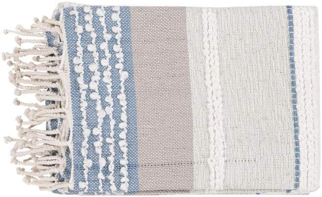 White, Blue, Sea Foam and Soft Pink Hand Woven Striped Blanket
