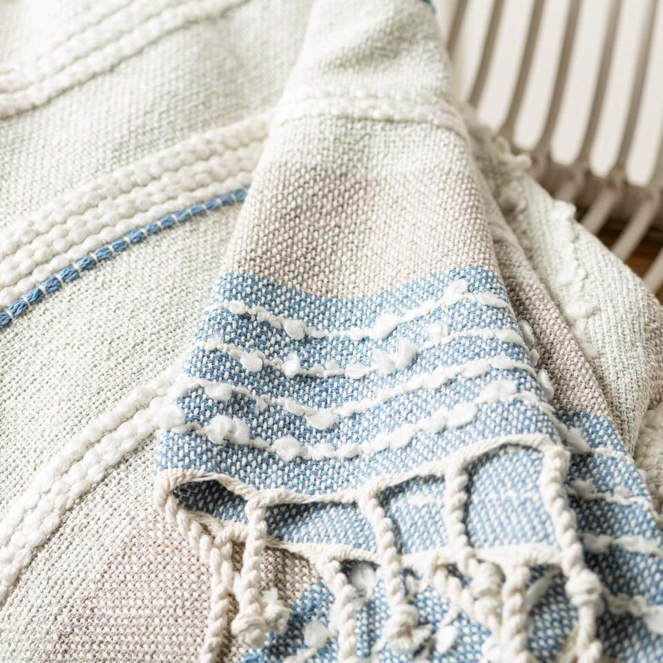 up close hand woven striped throw blanket
