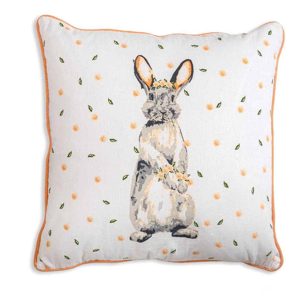 White, Green, & Orange Farmhouse Bunny Throw Pillow