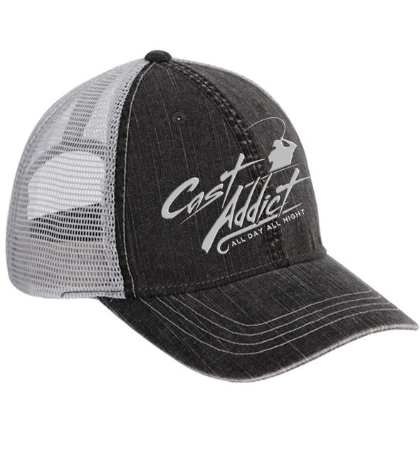 Cast Addict 6 Panel Soft Crown Mesh Hat Charcoal/Grey