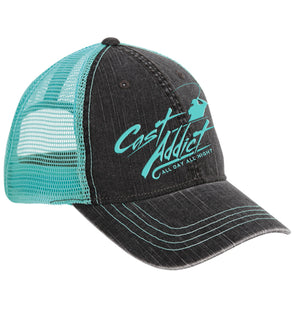 Cast Addict 6 Panel Soft Crown Mesh Hat Charcoal/Seafoam - Dunleavyapparel
