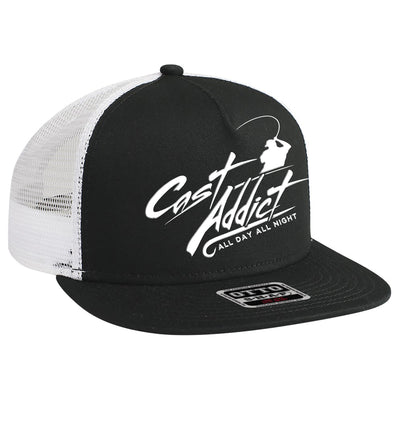Cast Addict 5 Panel Trucker Snap Back Hat Black/White