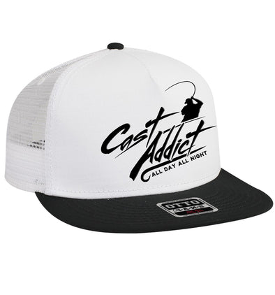 Cast Addict 5 Panel Trucker Snap Back Hat White/Black