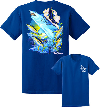 Men's Mako Shark & Tuna Short Sleeve Cotton T-Shirt - Dunleavyapparel
