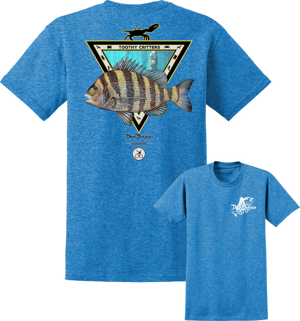 Men's Sheepshead Toothy Critters Short Sleeve Cotton T-Shirt - Dunleavyapparel