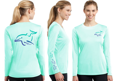 Women's Performance Dolphin Deco Long Sleeve - Dunleavyapparel