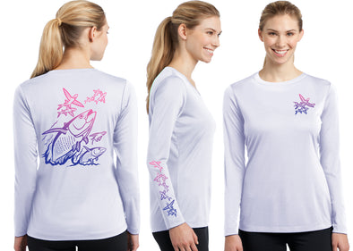 Women's Performance Tuna & Flying Fish Deco Long Sleeve - Dunleavyapparel
