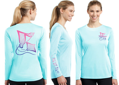 Women's Performance Spotted Eagle Rays Deco Long Sleeve - Dunleavy Apparel