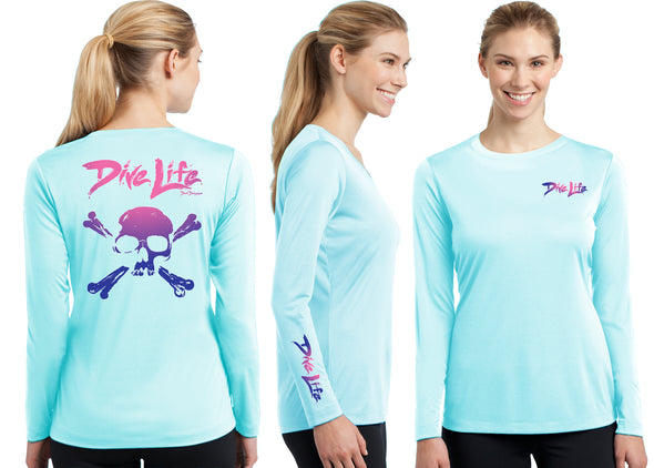 Women's Performance Dive Life Skull Long Sleeve - Dunleavyapparel