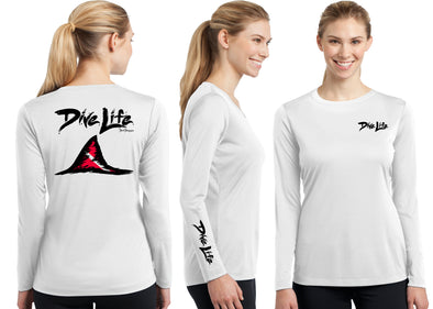 Women's Performance Dive Life Shark Fin Long Sleeve - Dunleavy Apparel