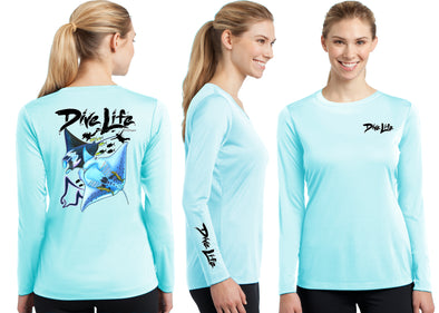 Women's Performance Dive Life Manta Rays Long Sleeve - Dunleavy Apparel