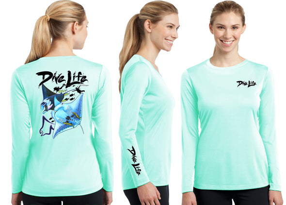 Women's Performance Dive Life Manta Rays Long Sleeve