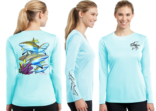 Women's Performance Caribbean Reef Sharks Long Sleeve - Dunleavy Apparel