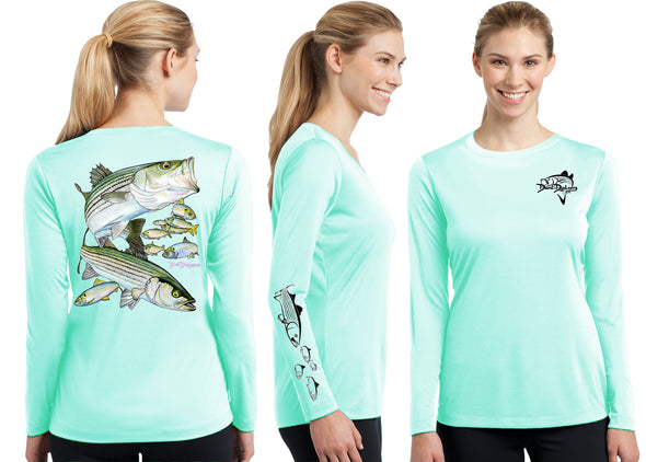 Women's Performance Striped Bass Long Sleeve - Dunleavy Apparel