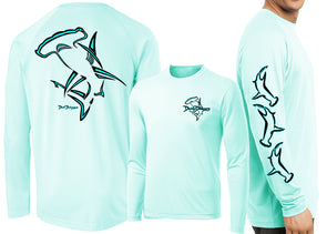 Men's Performance Hammerhead Shark Deco Long Sleeve - Dunleavyapparel