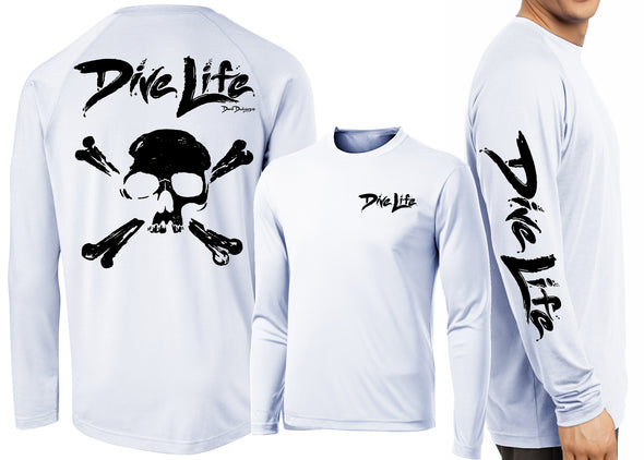 Men's Performance Dive Life Skull Long Sleeve - Dunleavyapparel