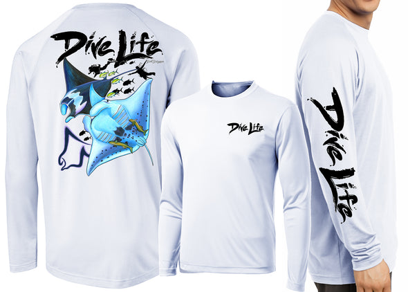 Men's Performance Dive Life Manta Rays Time Long Sleeve