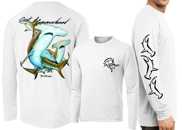 Men's Performance Great Hammerhead Sharks Long Sleeve - Dunleavyapparel