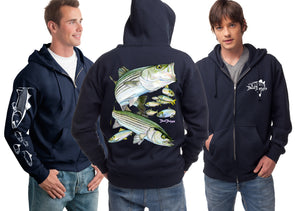 Men's Striped Bass Zip Hoodie - Dunleavyapparel