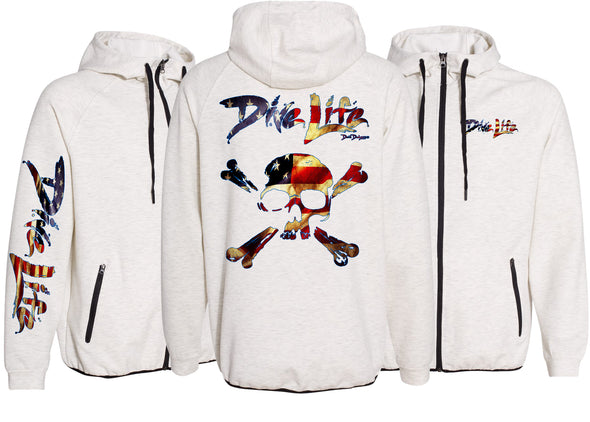 Men's Performance Dive Life Skull USA Zip Hoodie - Dunleavy Apparel