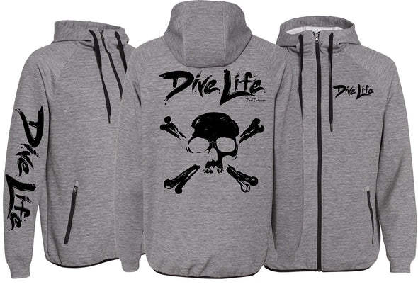 Men's Performance Dive Life Skull Zip Hoodie