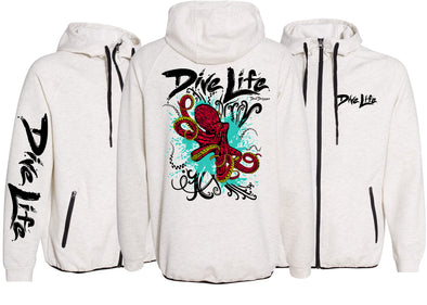 Men's Performance Dive Life Octopus Zip Hoodie