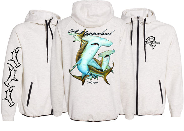 Men's Performance Great Hammerhead Sharks Zip Hoodie