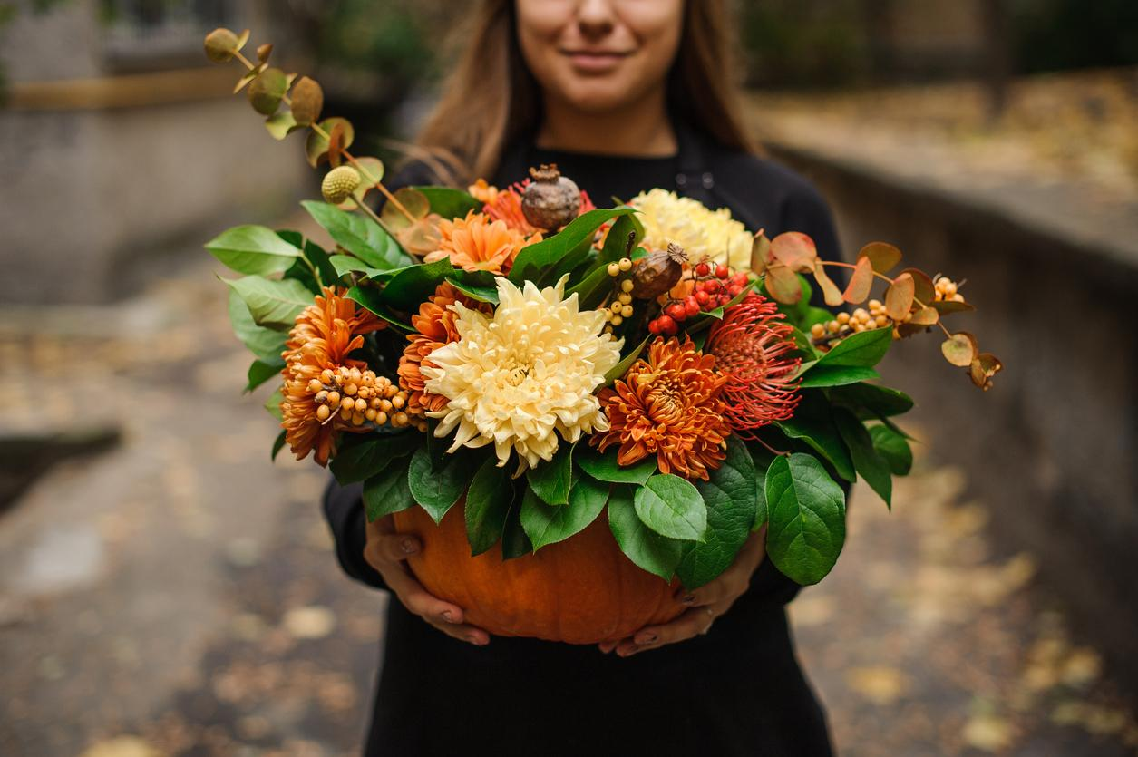 Fall Blooms and Pumpkins: The Perfect Arrangement