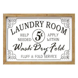 Vintage Laundry Room Framed Glass Wall Art