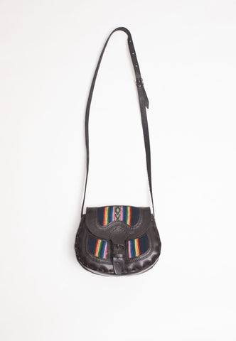 Leather and Textile Handbag