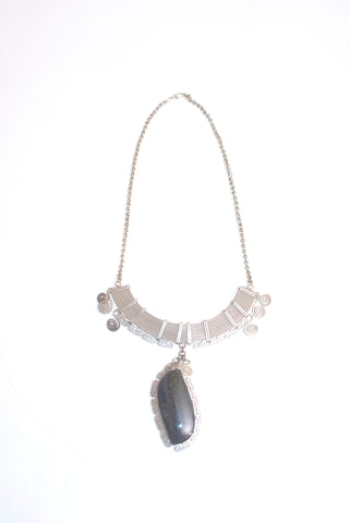 Alpaca Silver and Rainbow Obsidian Necklace