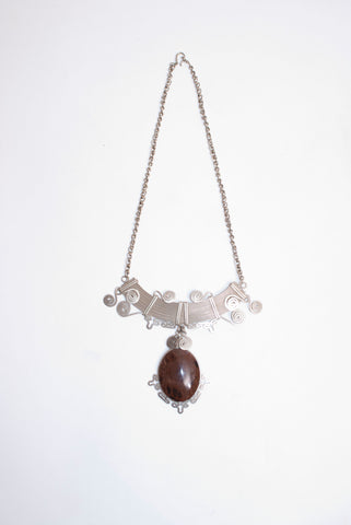 Alpaca Silver and Mahogany Obsidian Gemstone Necklace
