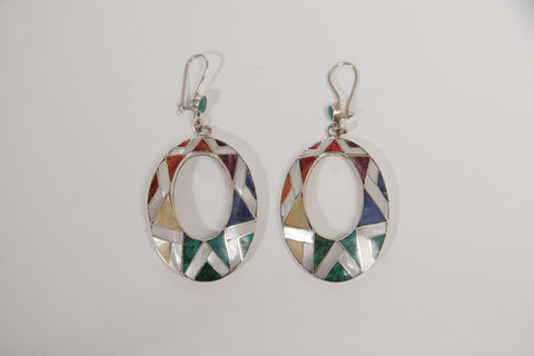 Silver earrings with gemstones