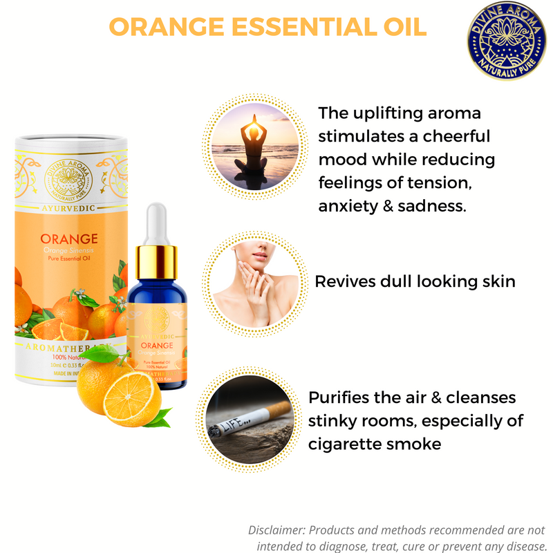 Orange (Sweet) |  For Dull Skin, Hair, energising properties, odour elimination