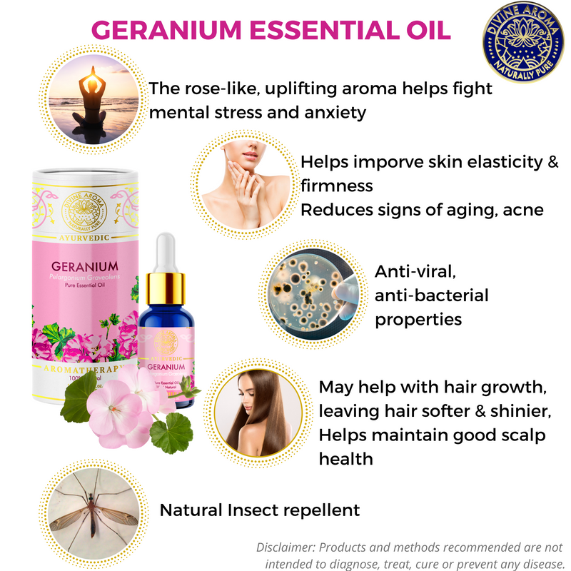 Geranium | For Skin elasticity, Hair, Anti-viral properties, Stress, repelling insects