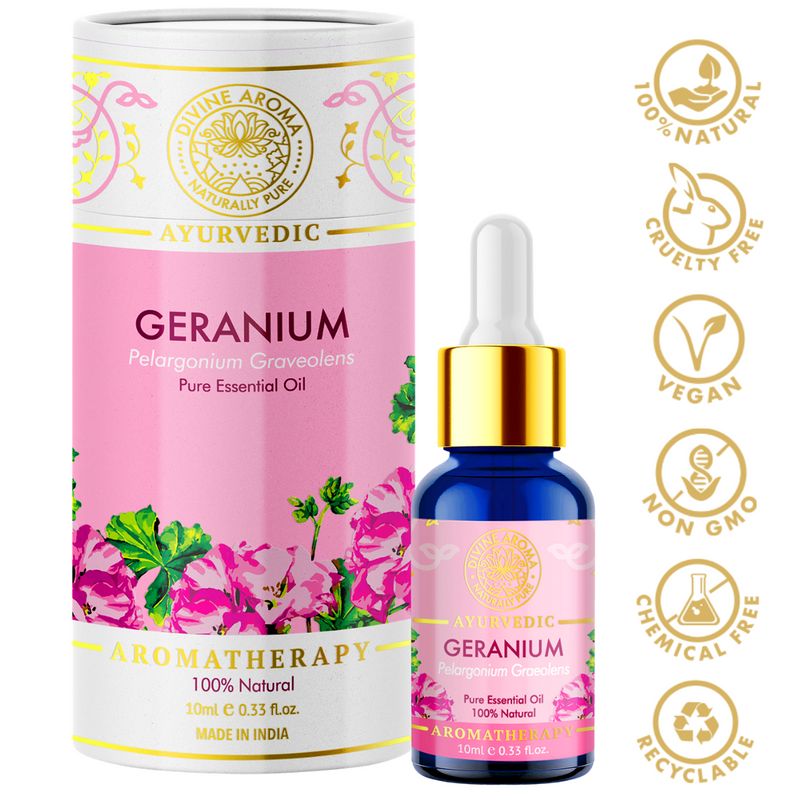 Divine aroma geranium 100% pure and natural essential oil in luxury packaging and blue bottle with golden dropper cap for aromatherapy for skin,hair,aroma,bath,mental wellness