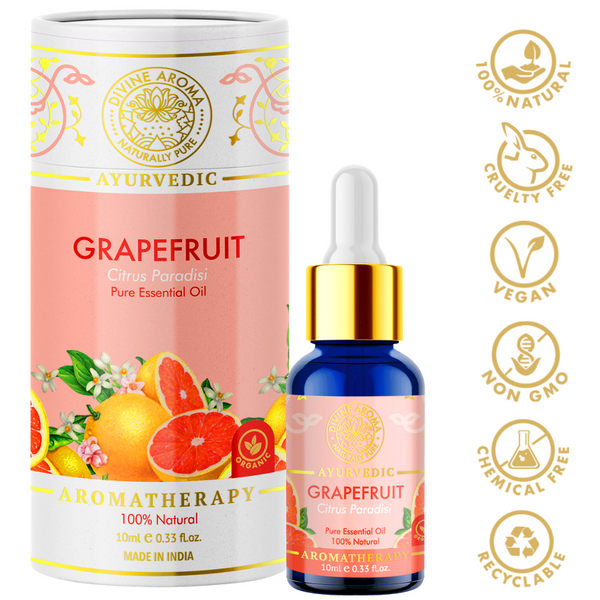 Divine aroma Grapefruit 100% pure and natural essential oil in luxury packaging and blue bottle with golden dropper cap for aromatherapy for skin,hair,aroma,bath,mental wellness