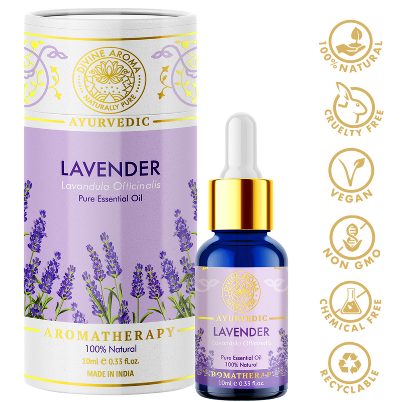Divine aroma Lavender 100% pure and natural essential oil in luxury packaging and blue bottle with golden dropper cap for aromatherapy for skin,hair,aroma,bath,mental wellness